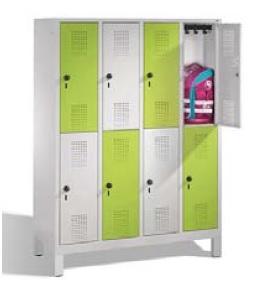 S 3000 EVOLO Schul- Schließfachschrank 4x2 Fächer, 1650x1190x500mm, Füße | günstig bestellen bei assistYourwork