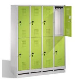 S3000 EVOLO Schul - Schließfachschrank 4x2 Fächer, 1600x1190x500mm, Sockel | günstig bestellen bei assistYourwork