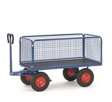 FETRA Handpritschenwagen 6436V, Drahtgitterwände, 2000x1000mm Tragkraft 1250kg, Vollgummi-Bereifung | günstig bestellen bei assistYourwork