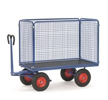 FETRA Handpritschenwagen 6443V, Drahtgitterwände, 1200x800mm Tragkraft 700kg, Vollgummi-Bereifung | günstig bestellen bei assistYourwork