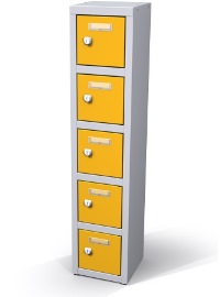 Mini-Wertfachschrank 5 Fächer, Münzpfandschloss HxBxT: 900 x 200 x 200 mm | günstig bestellen bei assistYourwork