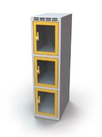 Schließfachschrank mit Sichtfenster 3 Fächer HxBxT: 1108 x 350 x 500 mm | günstig bestellen bei assistYourwork