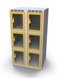 Schließfachschrank mit Sichtfenster 6 Fächer HxBxT: 1108 x 700 x 500 mm | günstig bestellen bei assistYourwork