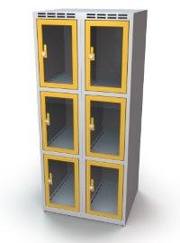 Schließfachschrank mit Sichtfenster 6 Fächer HxBxT: 1370 x 700 x 500 mm | günstig bestellen bei assistYourwork