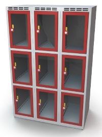 Schließfachschrank mit Sichtfenster 9 Fächer HxBxT: 1370 x 900 x 500 mm   günstig bestellen bei assistYourwork