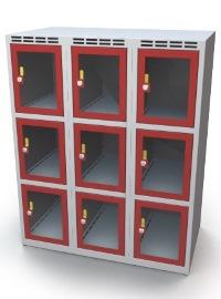 Schließfachschrank mit Sichtfenster 9 Fächer HxBxT: 1108 x 900 x 500 mm | günstig bestellen bei assistYourwork