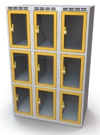 Schließfachschrank mit Sichtfenster 9 Fächer HxBxT: 1370 x 1050 x 500 mm | günstig bestellen bei assistYourwork