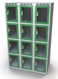 Schließfachschrank mit Sichtfenster 12 Fächer HxBxT: 1457 x 1200 x 500 mm | günstig bestellen bei assistYourwork
