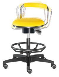 3D- Laborhocker mit Kunstleder-Sitzfläche und Fussring aus Aluminium | günstig bestellen bei assistYourwork