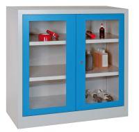 Sichtfensterschrank 1000x1000x500mm 1 Einlegeboden, 2 Schubladen | günstig bestellen bei assistYourwork