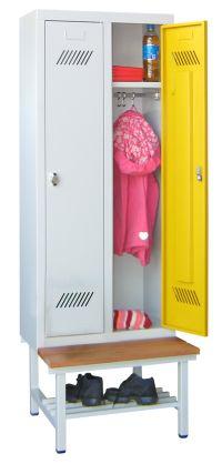 Kinder-Spind 1500x530x300mm, 2 Abteile, mit Sitzbank für Kindergartenkinder | günstig bestellen bei assistYourwork