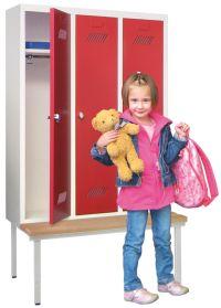 Kinder-Spind 1500x780x300mm, 3 Abteile, mit Sitzbank für Kindergartenkinder | günstig bestellen bei assistYourwork