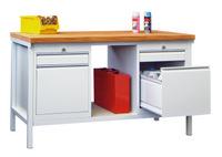 PAVOY Werkbank 1500mm, 2 Schubladenblocks, 1 Ablageboden | günstig bestellen bei assistYourwork