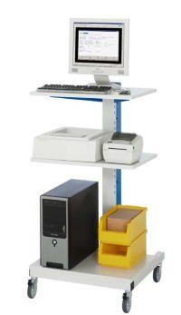 Computer- Ständer mit 2 Ablagen 650x650x1230mm, fahrbar | günstig bestellen bei assistYourwork