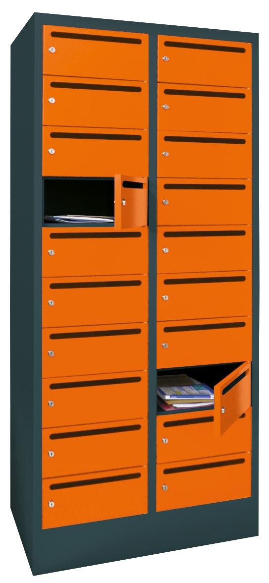 Postverteilerschrank mit Drehriegelverschluß 1850x500x630mm mit 20 Postfächern | günstig bestellen bei assistYourwork