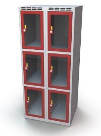 Schließfachschrank mit Sichtfenster 6 Fächer HxBxT: 1370 x 600 x 500 mm   günstig bestellen bei assistYourwork