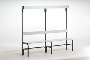 Sitzbank 131322 2000mm, einseitig Aluminiumleisten, mit Rückenlehne und Hakenleiste | günstig bestellen bei assistYourwork