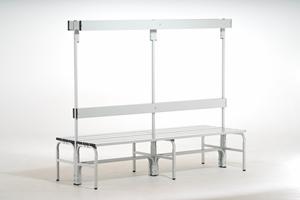 edelstahl sitzbank 1500mm doppelseitig umkleideeinrichtungenumkleideb nkegarderobenb nke. Black Bedroom Furniture Sets. Home Design Ideas