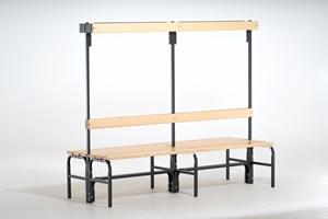 Garderobenbank 131353 2000mm, doppelseitig mit Rückenlehne und Hakenleiste   günstig bestellen bei assistYourwork