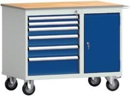 Werkbank fahrbar mit Tür und 6 Schubladen, HxBxT: 830 x 1000 x 620 mm | günstig bestellen bei assistYourwork