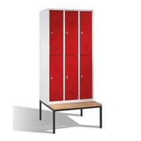 Select Doppelstöckiger Garderobenschrank 3x2 Abteile, mit untergebauter Sitzbank | günstig bestellen bei assistYourwork