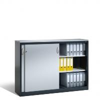 Beistellschrank mit Stahl-Schiebetüren HxBxT 720 x 1200 x 400 mm, mit Mitteltrennwand | günstig bestellen bei assistYourwork