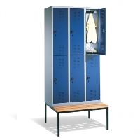Doppelstöckiger Garderobenschrank Evolo mit untergebauter Sitzbank, 2x2 Abteile  | günstig bestellen bei assistYourwork