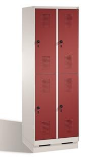 Doppelstöckiger Garderobenschrank Evolo mit Sockel 2x2 Abteile, Breite 300mm, mit Stahltüren | günstig bestellen bei assistYourwork