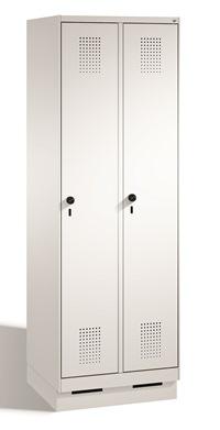 Stahl Garderobenschrank Evolo S3000 2 Abteile mit Stahltüren á 300mm, mit Sockel | günstig bestellen bei assistYourwork
