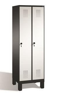 Stahl Garderobenschrank Evolo S3000 2 Abteile mit Stahltüren á 400mm, Füße | günstig bestellen bei assistYourwork