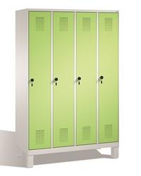 Stahl Garderobenschrank Evolo S3000 4 Abteile mit Stahltüren á 400mm, Füße | günstig bestellen bei assistYourwork