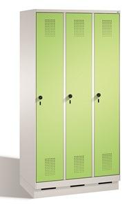 Stahl Garderobenschrank Evolo S3000 3 Abteile mit Stahltüren á 400mm, mit Sockel | günstig bestellen bei assistYourwork