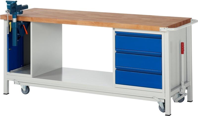 werkbank mit absenkbarem fahrgestell 2000 mm breit werkstatteinrichtungen werkb nke fahrbare. Black Bedroom Furniture Sets. Home Design Ideas
