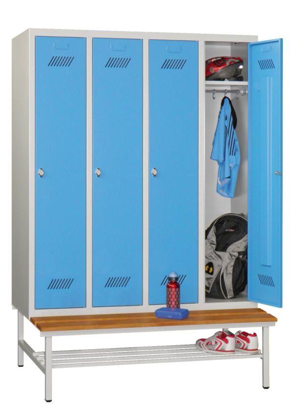 schul spind mit sitzbank 1850x1230x500mm 4 abteile umkleide einrichtungen garderobenschr nke. Black Bedroom Furniture Sets. Home Design Ideas