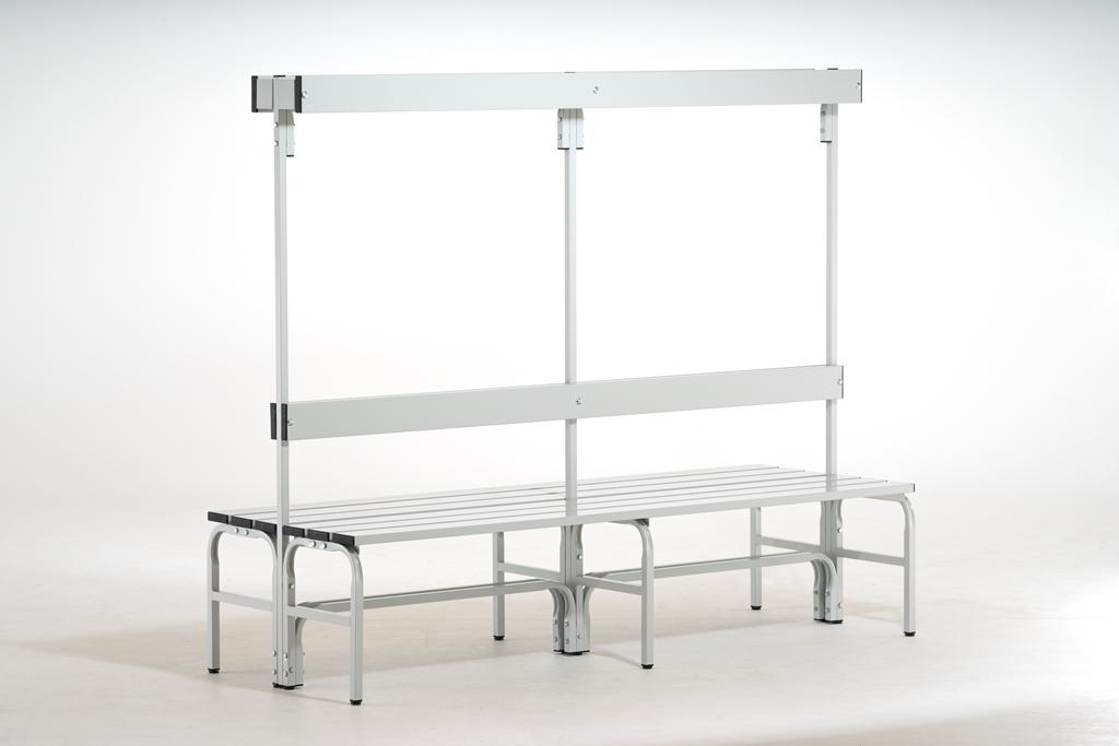 edelstahl sitzbank 2000mm doppelseitig umkleideeinrichtungenumkleideb nkegarderobenb nke. Black Bedroom Furniture Sets. Home Design Ideas