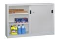 PAVOY Schiebetürenschrank, HxBxT 1000x1500x400mm, je Seite 2 verzinkte Einlegeböden | günstig bestellen bei assistYourwork