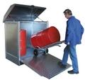 Gefahrstoff-Depot GD-N-R 2, lackiert, mit Auffahrrampe, für 2 Fässer á 200 l | günstig bestellen bei assistYourwork