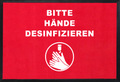 -Hände desinfizieren- Hinweis-Bodenmatte, Querformat, Rot mit weißer Schrift, BxH 90x60cm | günstig bestellen bei assistYourwork