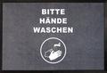 -Hände waschen- Hinweis-Bodenmatte, Querformat, Grau mit weißer Schrift, BxH 90x60cm | günstig bestellen bei assistYourwork