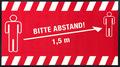 -Abstand halten- Hinweis-Bodenmatte, Querformat, Rot mit weißer Schrift, BxH 150x85cm | günstig bestellen bei assistYourwork