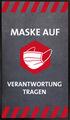 -Maske auf- Hinweis-Bodenmatte, Hochformat, Grau mit weißer Schrift, BxH 85x150cm | günstig bestellen bei assistYourwork
