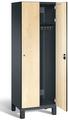 Spind S 6000 CAMBIO, HPL Holz-Dekortüren 2 Abteile á 300mm mit Füßen | günstig bestellen bei assistYourwork