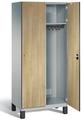 Spind S 6000 CAMBIO, HPL Holz-Dekortüren 2 Abteile á 400mm mit Füßen | günstig bestellen bei assistYourwork