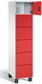 Fächerschrank S 7000 Prefino - 6 Fächer übereinander, 6x1 Abteil á 400mm, mit Stahltüren | günstig bestellen bei assistYourwork