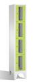 Fächerschrank 8010A104, Stahltüren mit Sichtfenstern 4 Fächer, Abteilbreite 300mm, auf Füßen | günstig bestellen bei assistYourwork
