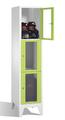 Schließfachschrank mit Sichtfenstern 8010A123, 3 Fächer, Abteilbreite 400mm, auf Füßen | günstig bestellen bei assistYourwork