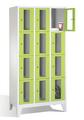Fächerspind 8010A304, Stahltüren mit Sichtfenstern 12 Fächer, Abteilbreite 300mm, auf Füßen | günstig bestellen bei assistYourwork