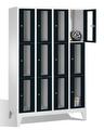 Fächerschrank 8010A403, Stahltüren mit Sichtfenstern 12 Fächer, Abteilbreite 300mm, auf Füßen | günstig bestellen bei assistYourwork