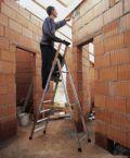 Gebördelte Stufen-Stehleiter 42453, 3 Stufen, einseitig begehbar, Modell Nova S | günstig bestellen bei assistYourwork