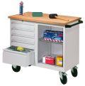 mobile Werkbank PAVOY mit 5 Schubladen und 1 offenen Fach | günstig bestellen bei assistYourwork